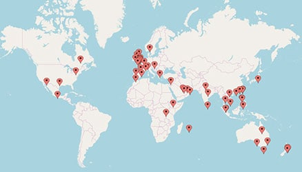 Map of the World with pins depicting our Client locations